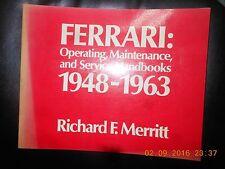 FERRARI 1948-1963-FOR OPERATING MAINTENANCE & SERVICE HANDBOOKS-1° EDITION