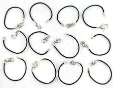 12PCS Mixed Clasp Black Leather charm Bracelets #20438