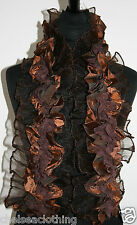 NEW BROWN Sateen Evening French Stole/Scarf L125cm Ruch Chiffon/Crinkle Stretchy