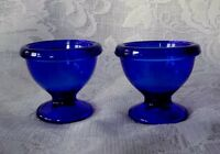 Collectible Set of 2 Cobalt Blue Glass Footed Egg Cups - Made in France