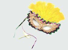 Mardi Gras Carnvival Masquerade Ball Yellow Eye Mask Fancy Dress NEW P1630