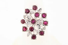 14k White Gold Filled Genuine Natural Rubies & Diamond Cluster Ring size 7
