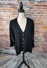 White + Warren Women Black Long Sleeve Mercerized Cotton Cardigan Sweater Sz M/L