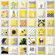 """18"""" Yellow Geometric Pillow Case Sofa Car Waist Throw Cushion Cover Home Decor"""
