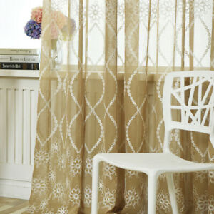 Flower Living Room Bedroom Embroidery Pattern Sheer Tulle Printing Curtain YI