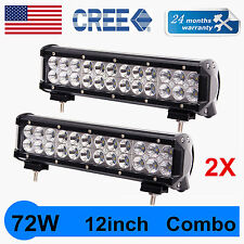2X 12'' 72W Cree Led Work Light Bar Flood Spot Suv Boat Driving Lamp Offroad 4WD