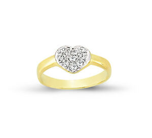 9CT GOLD BABY RING C/Z HEARTS CHILDS KIDS CUBIC ZIRCONIA SIGNET SOLID BAND BOX