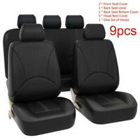 9Pcs Black Universal Car Seat Cover Leather Cushion 5 Seats Full Protect UK New