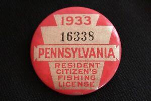 NICE VINTAGE '1933' PENNSYLVANIA  PA. FISHING LICENSE BUTTON PIN EX!!!