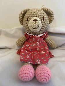 "CATH KIDS Kidston Crochet Knit Teddy Bear Pink Floral Dress Soft Toy Plush 15"""