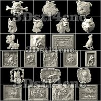 23 + 3D STL Models Dogs Panels set for CNC Router Carving Machine Artcam aspire