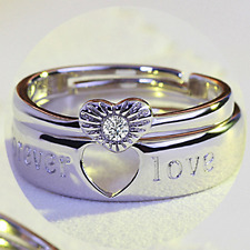 1 Set Couple 925 Silver Love Heart Wedding Band Engagement Promise Ring Jewelry