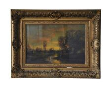 """Sunset"" by C. P. Appel (Oil on Board) 18 x 12.25 Original Frame!"