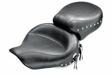 96-03 Harley FXDWG Mustang Seat 2up Attached Pillon Studded Wide Tour Seat