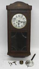JAHRESUHRENFABRIK Antique Vintage Wooden Oak Cased Pendulum Wall Clock FAULTY