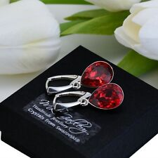 925 SILVER EARRINGS MADE WITH SWAROVSKI CRYSTALS PEAR FANCY STONE 14MM- SCARLET