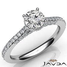 Exquisite Round Diamond Engagement GIA F VS1 Pave Set Ring 18k White Gold 1.37Ct
