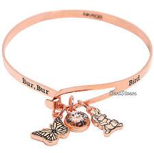 """Disney Bambi Thumper Rose Gold Charm Pendant Bangle Bracelet """"Bur Bur Bird"""" NEW"""