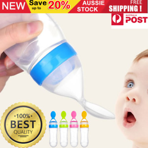 Baby Silicone Squeeze Feeding Bottle With Spoon Food Rice Cereal Feeder Tool 90m