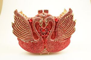 Gold AB Twin Swan Handmade Austrian Crystal Hard Case Cocktail Evening Bag NEW