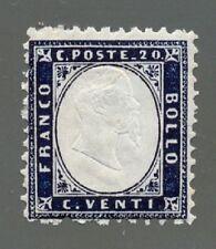 Regno D'Italia 1862 Prima Serie Dentellata 20 cent indaco integro cat Bolaffi 62