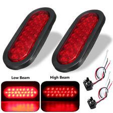 """Red 6"""" 24 LED Brake Stop Lamp Backup Fog Marker Light Flush Mount + Plug Wire 2x"""