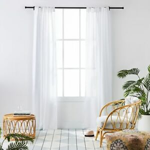 vintage washed white linen curtains