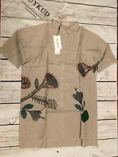 BUYKUD Women Cotton Linen Loose Print Shirt Beige Tunic One Sz  Loose Fit M or L