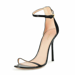 Dsquared2 Women's Black Leather High Heel Ankle Strap Pumps Shoes US 9 IT 39
