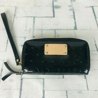 Kate Spade New York Black Polka Dot & Leather Trim Zip Around Wallet EUC