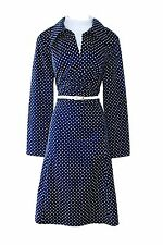 WOMEN'S/LADIES VINTAGE 1970s CLOTHES, BLUE/WHITE SPOTTED/DOTTED RETRO DRESS, 14