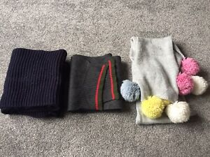 Childrens Set Of Three Scarves Unbranded For Ages 6-10 Years In Blue & Grey (2)