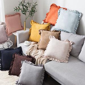 Velvet Ruffled Square Pillowcase 45x45cm Sofa Cushion Pillow Cover Home Decor