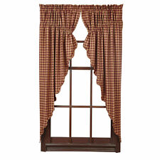 New Country Primitive Red BURGUNDY TAN CHECK PRAIRIE SWAGS Window Curtains