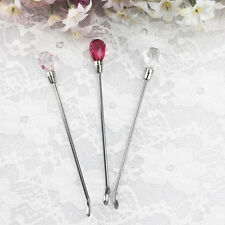 1X Glitter Crystal Head Powder Spoon Stainless Steel Nail Art Spoon Nail Tool