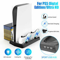 Vertical Stand with 2 Controller Charging Dock Cooling fan for PS5 PlayStation 5