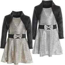 Mädchen Kinder Schleife Stehkragen Peticoat Fest Kleid Lang Arm Kostüm 20796