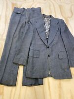 VTG BESPOKE HAND TAILORED MEN SIZE 38R GRAY HOUNDSTOOTH WOOL 2 PIECE SUIT