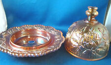 """Carnival Glass Marigold Iridized Domed Butter Dish Imperial Rose 7.5"""" Dia. @23"""