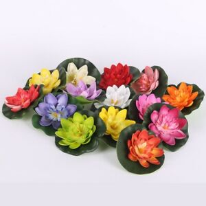 Water Lily Flower Pond Plant Decor Retro Artificial Fake Ornaments Floating 5Pcs