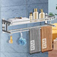 2 Tier Wall Mounted Steel Towel Rack Bathroom Hotel Rail Holder Storage Shelf