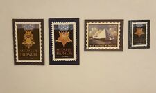 Usps stamp magnets lot of four/3Purple Heart and 1 Uss Arizona