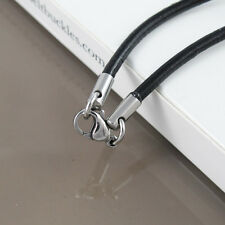 """Custom Made Silver Stainless 3mm Cord Black Leather Necklace 21"""" 22"""" inches 55cm"""