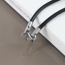 """Hecho A Medida Plata Acero 3mm Collar De Cuero Negro Cable 21"""" 55cm 22"""" pulgadas"""