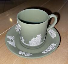 Wedgwood Sage Green Jasperware Demitasse Three Graces Coffee Cup & Saucer