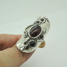 Great Handcrafted 925 Sterling Silver Garnet massive woman unique Ring size 8  (