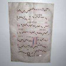 MEDIEVAL ILLUMINATED MANUSCRIPT Vellum Gregorian Chant Music C 1440 Renaissance