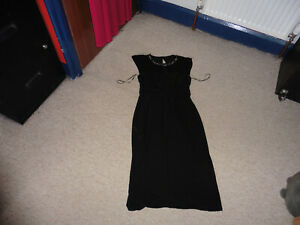 LADIES MONSOON BLACK DRESS WITH BEADED DETAIL SIZE ADULT 10 NEW AS SEEN IN PICTS