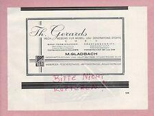 M. Gladbach, Pubblicità 1928, Th. Gerards Mech. tessitura per mobili-DECORAZIONE-sostanze