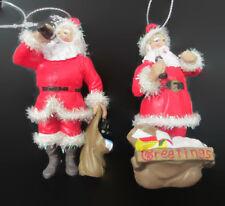 Coca-Cola Set of 2 Santa Christmas Ornaments with Sparkling Trim